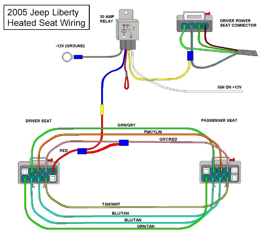 2005heatedseatwiring 05' wiring diagram question jeep liberty forum jeepkj country on 04 scion xb drivers seat wiring diagram